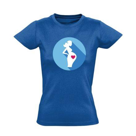 Szereti a hasát szülészeti női póló (kék)