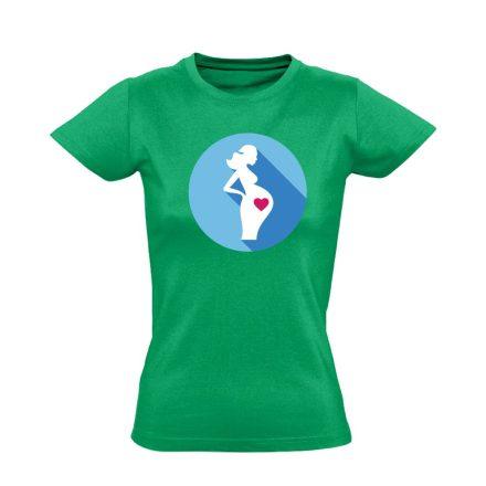 Szereti a hasát szülészeti női póló (zöld)