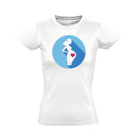 Szereti a hasát szülészeti női póló (fehér)