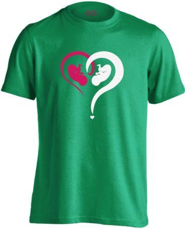 Fiú vagy Lány? szülészeti férfi póló (zöld)