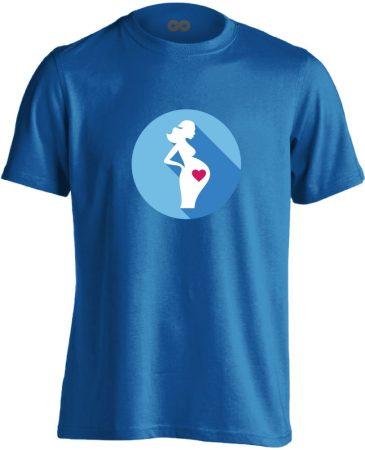 Szereti a hasát szülészeti férfi póló (kék)