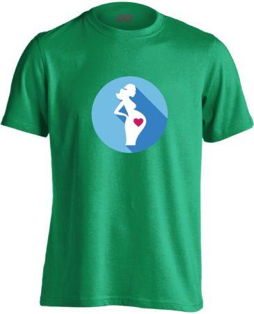 Szereti a hasát szülészeti férfi póló (zöld)