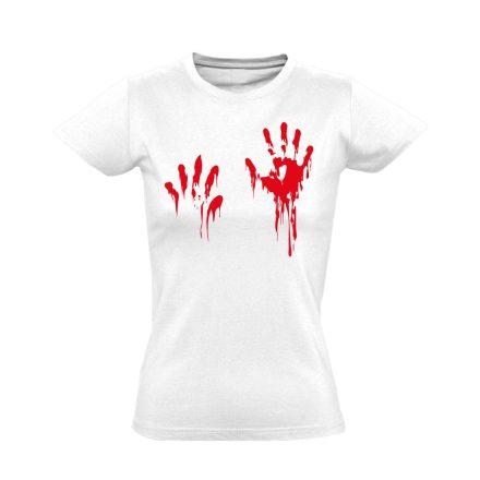 Piros pacsi traumatológiai női póló (fehér)