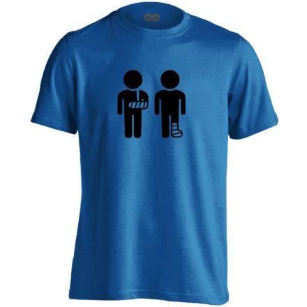 Kéz és Lábtörést! traumatológiai férfi póló (kék)
