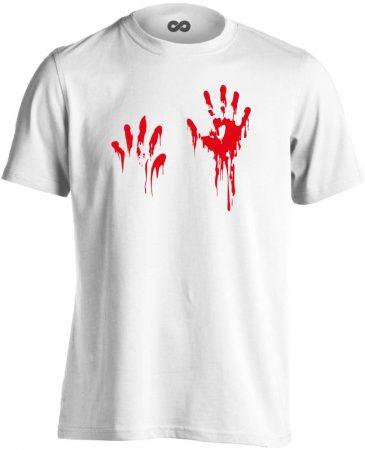Piros pacsi traumatológiai férfi póló (fehér)