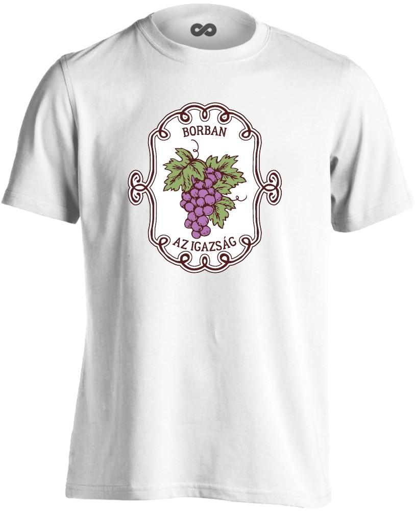 8271a88bde BorbanAzIgazság férfi póló (fehér)