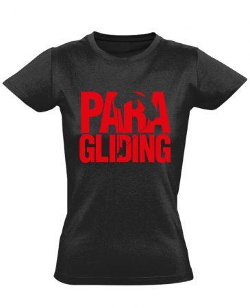 Paragliding siklóernyős női póló (fekete)