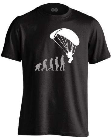 Evolution siklóernyős férfi póló (fekete)