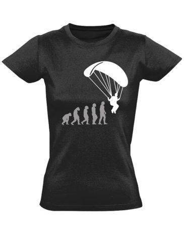 Evolution siklóernyős női póló (fekete)