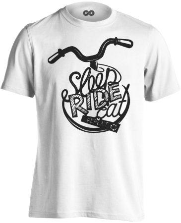 """Felirat """"ismétlés"""" kerékpáros férfi póló (fehér)"""