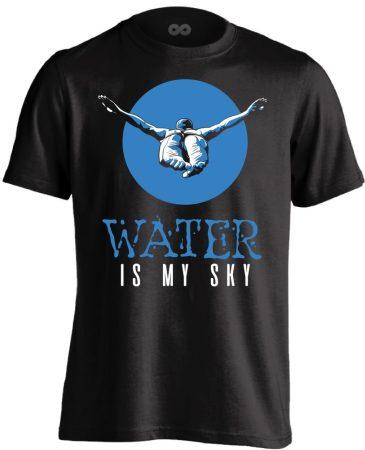 Water Is My Sky úszó férfi póló (fekete)