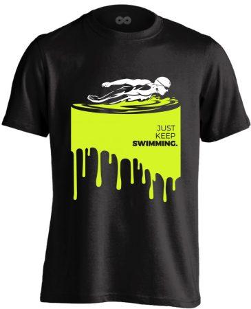 Just Keep Swimming úszó férfi póló (fekete)