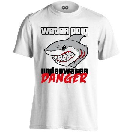 Underwater Danger vízilabdás férfi póló (fehér)